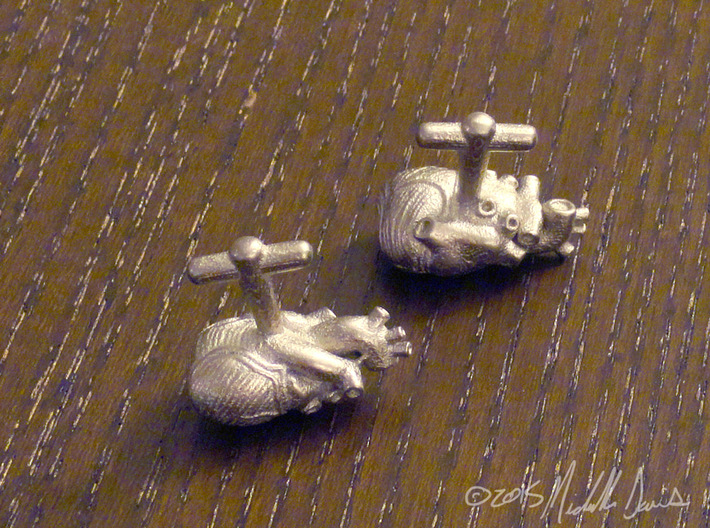 Anatomical Heart Cufflinks Pair (Front and Back) 3d printed Polished Nickel Steel
