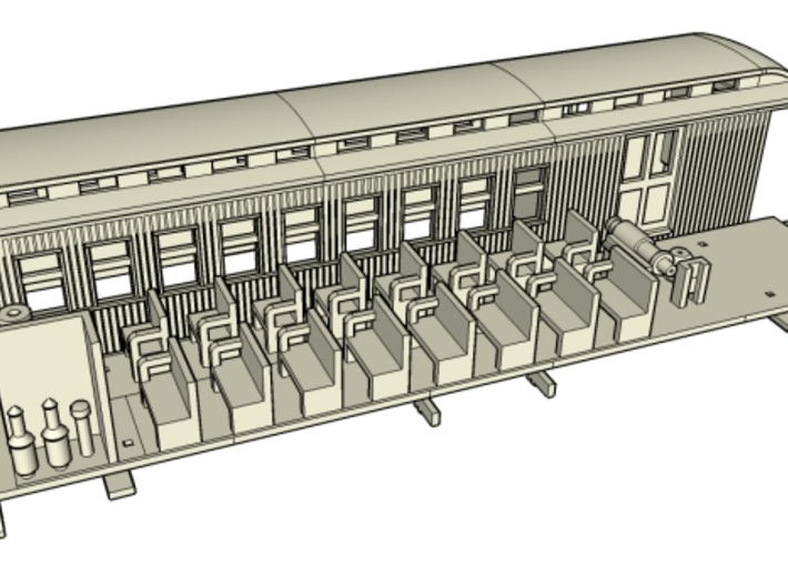 HOn30 40ft Combine Coach E with Interior B 3d printed