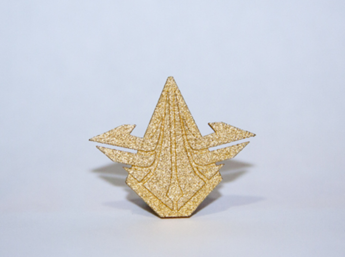SkyGuard badge 3d printed Polished gold Steel SkyGuard pin