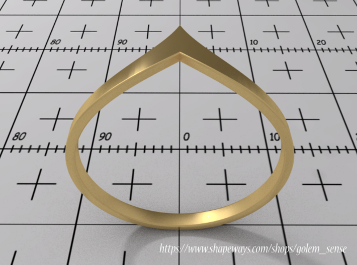 Ring Model B - Size 6 - Gold 3d printed