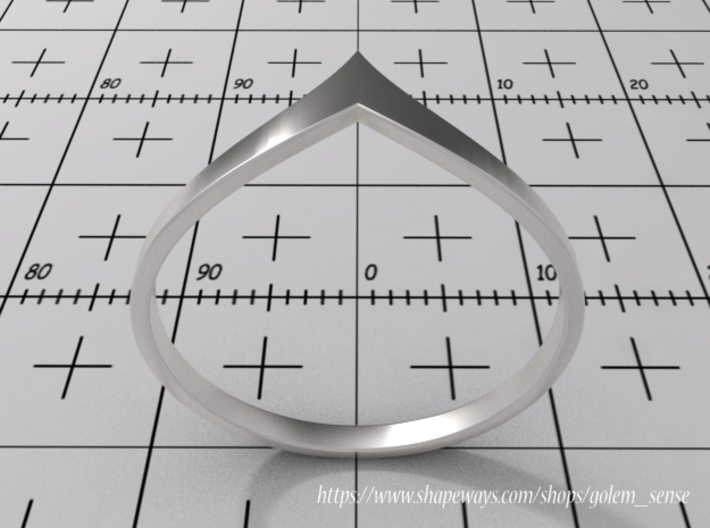 Ring Model B - Size 6 - Silver 3d printed