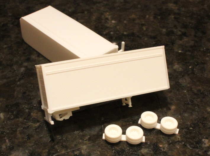 1:160 N Scale 28' Pup Trailer Parcel Service x2 3d printed