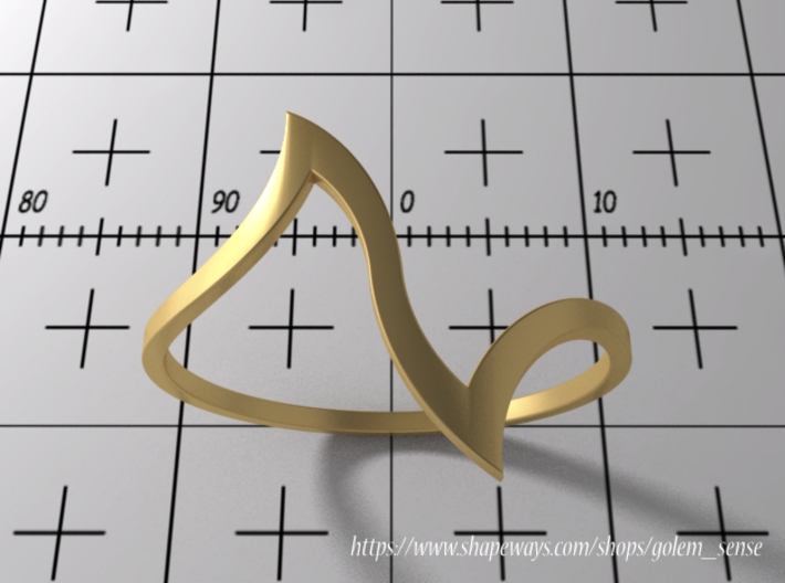 Ring Model D - Size 6 - Gold 3d printed