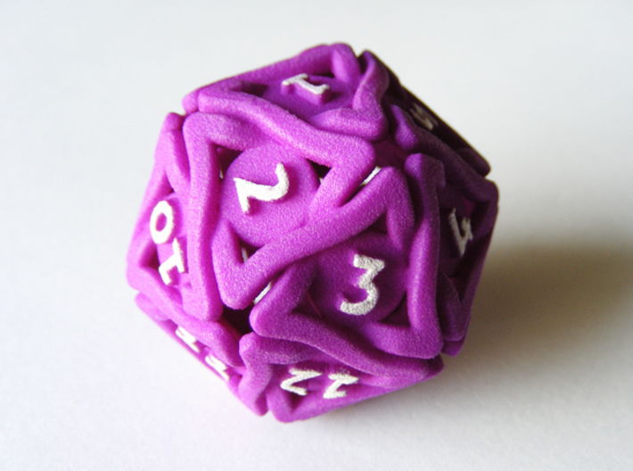 'Twined' Dice D20 MTG Spindown Life Counter Die 32 3d printed D20 Spindown die with white acrylic paint applied to the numbers