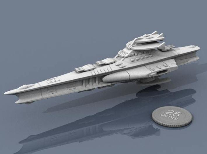Novus Regency Battleship 3d printed Render of the model, plus a virtual quarter for scale.