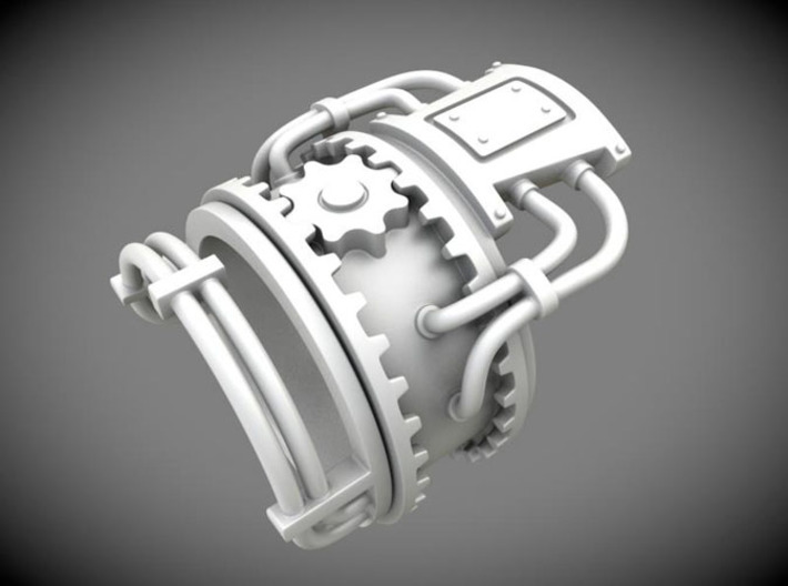 Steampower ring v2 3d printed C4D Render, silver material