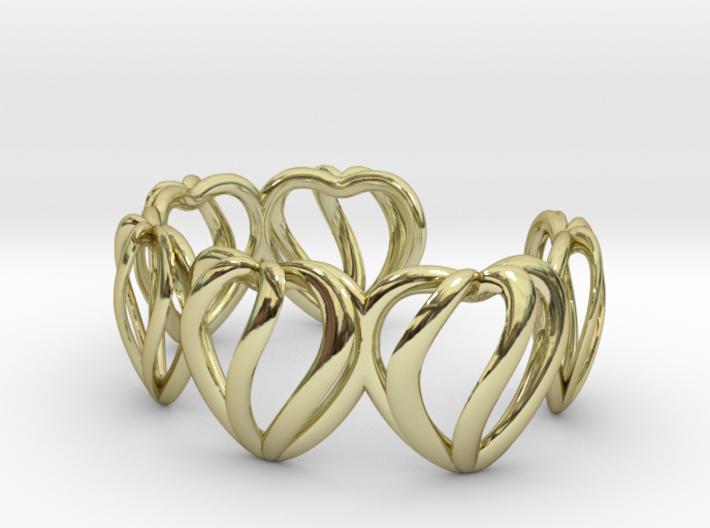 Heart Cage Bracelet (5 large hearts) 3d printed