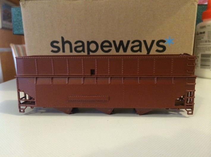 HO SAL 3-bay hopper extension 3d printed Extension added to Stewart car