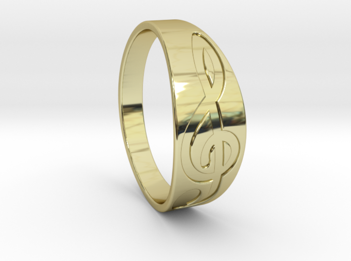 Size 8 M G-Clef Ring Engraved 3d printed