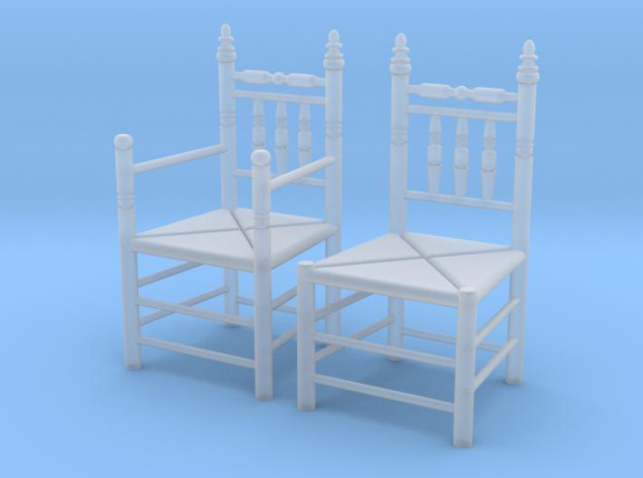 1:48 Pilgrim's Chairs, Set of 2 3d printed
