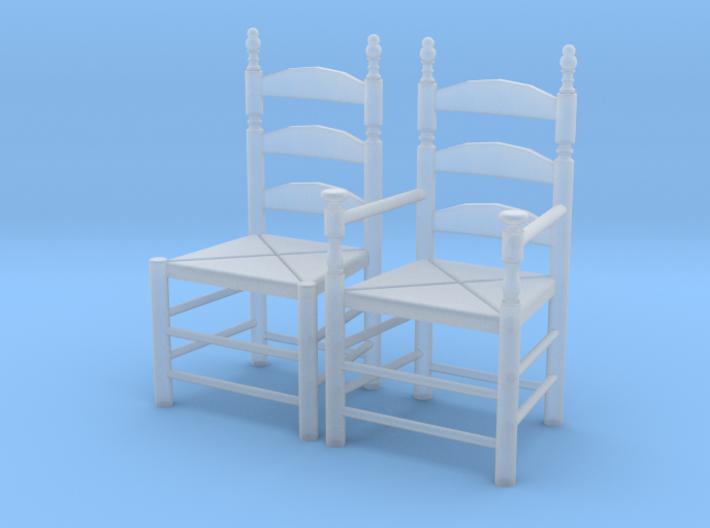 1:48 Pilgrim's Slat Back Chairs 3d printed