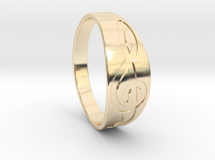 Size 9 M G-Clef Ring Engraved 3d printed