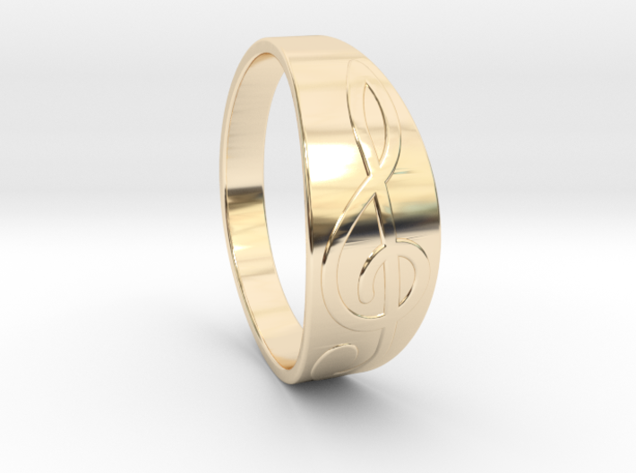 Size 8 M G-Clef Ring 3d printed