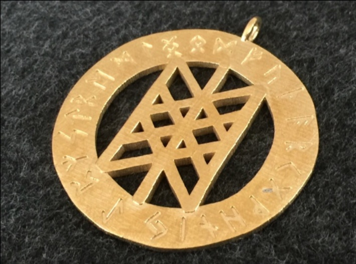 Rune Pendant - Web of the Wyrd 3d printed The Web of the Wyrd Rune pendant in raw brass.