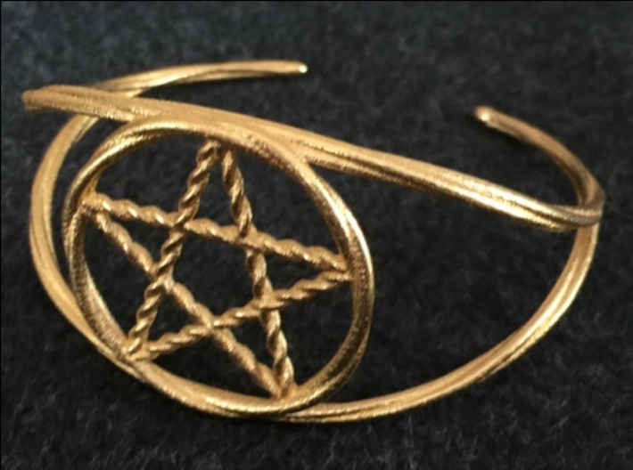 Woven Pentacle cuff/armband 3d printed The woven pentacle cuff in polished gold steel.