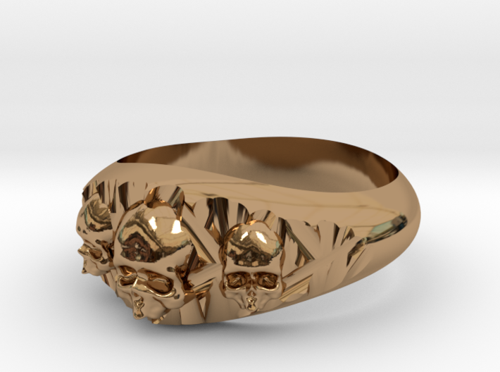 Cutaway Ring With Skulls Sz 13 3d printed