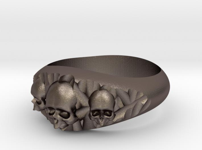 Cutaway Ring With Skulls Sz 12 3d printed