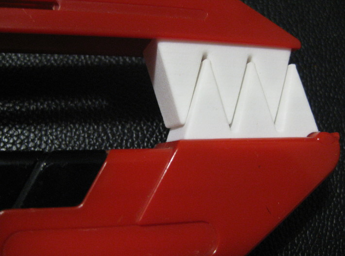 Blade Blaster Replacement Handle Teeth - Top 3d printed 3D Printed top and bottom pieces installed on toy.
