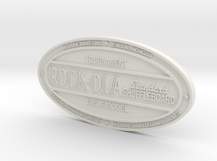 Rock-Ola Shuffleboard Badge 3d printed