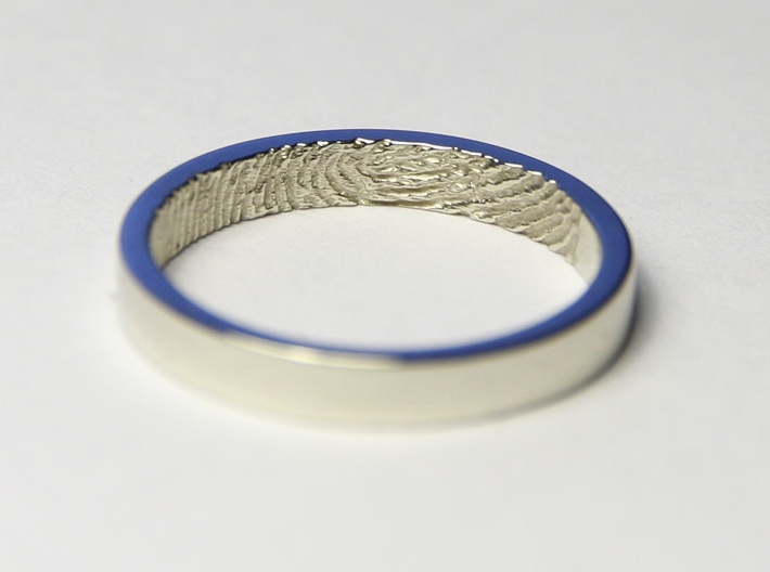 "Fingerprint Ring - Hers 3d printed The ""hers"" 3mm fingerprint wedding ring, printed in beautiful 14k White Gold. Pictured ring is a US size 6 1/2 (16.92mm)"