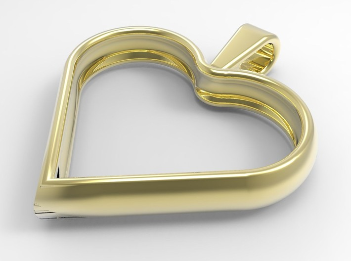 Simple heart pendant 3d printed A rendering in polished brass