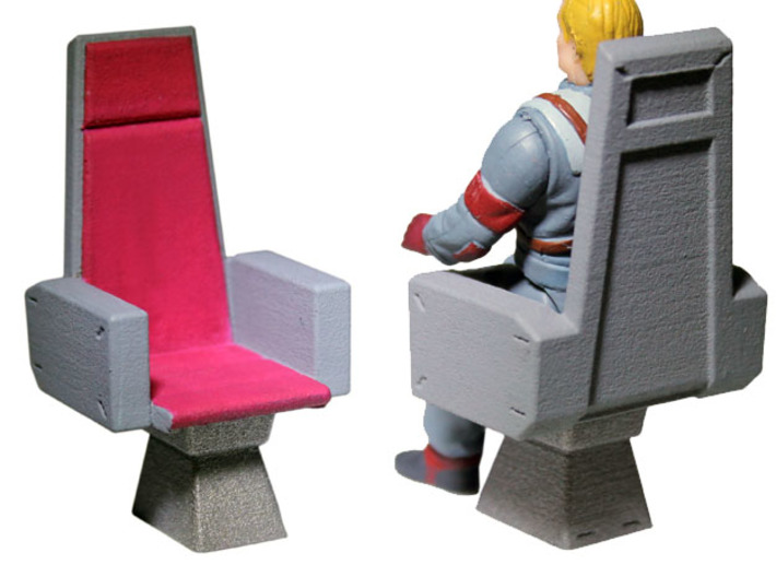 M.A.S.K. Energy Room Chair 3d printed Painted Prototype printed in White Strong & Flexible Polished (Matt Trakker figure shown for reference only, not included!)