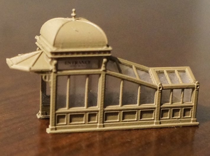N Scale (1:160) Subway Kiosks (Set of 2) 3d printed Painted subway entrance.