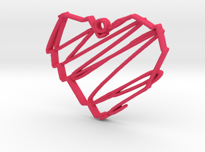 Sketch Heart Pendant 3d printed