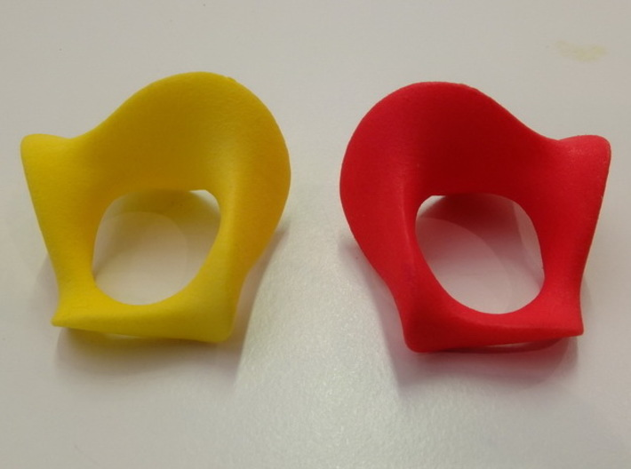 """""""Waves"""" ... Right Hand Ring . 3d printed left and right from the back"""