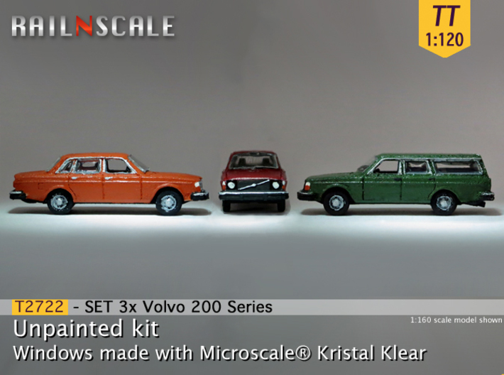 SET 3x Volvo 200 Series (TT 1:120) 3d printed