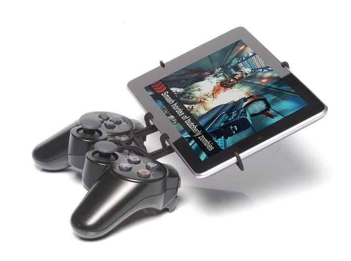 PS3 controller & ASUS Transformer Book T100TA 3d printed Side View - A Nexus 7 and a black PS3 controller