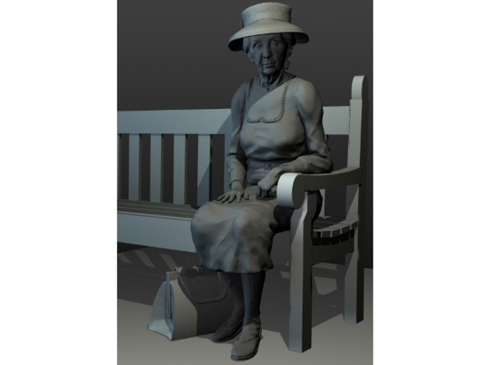 1:32 scale Mz M sitting on Bench 3d printed Purse sold separately.