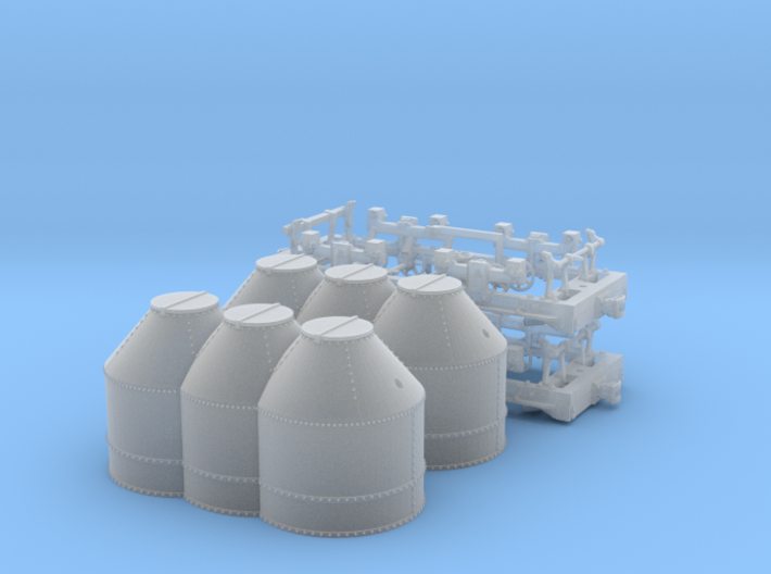 R03ex x2 N scale B&O Iron Pot Hoppers, extended si 3d printed