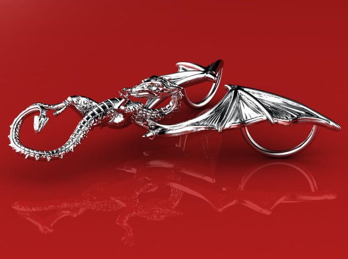 The Great Dragon pendant bronze, silver or gold  3d printed