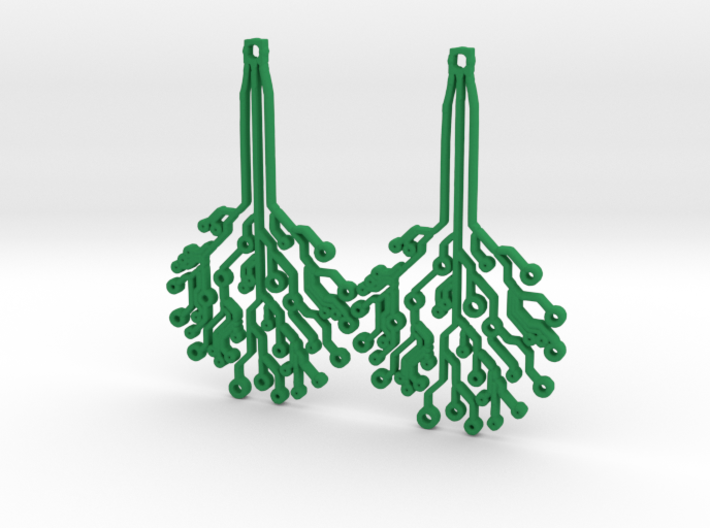 Circuit Tree Earrings 3d printed