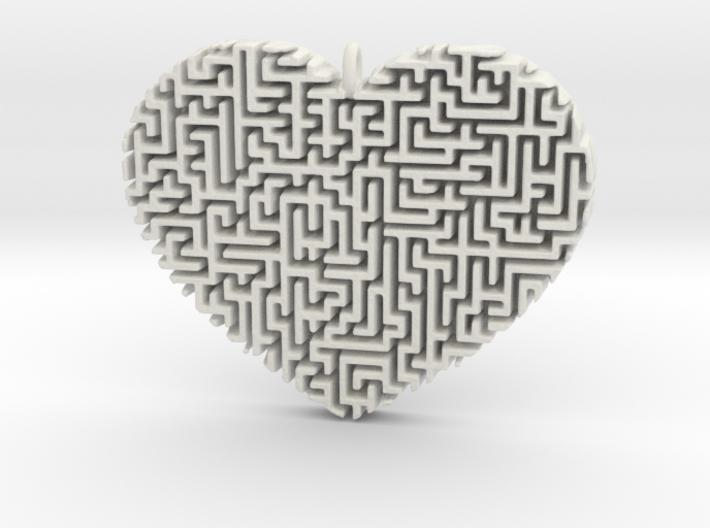 Heart Maze-Shaped Pendant 2 3d printed