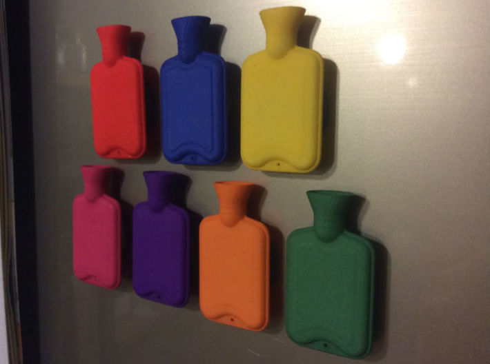 Hot Water Bottle Regular  3d printed In use as fridge magnets