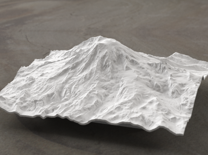 6'' Mt. Rainier Terrain Model, Washington, USA 3d printed Radiance rendering