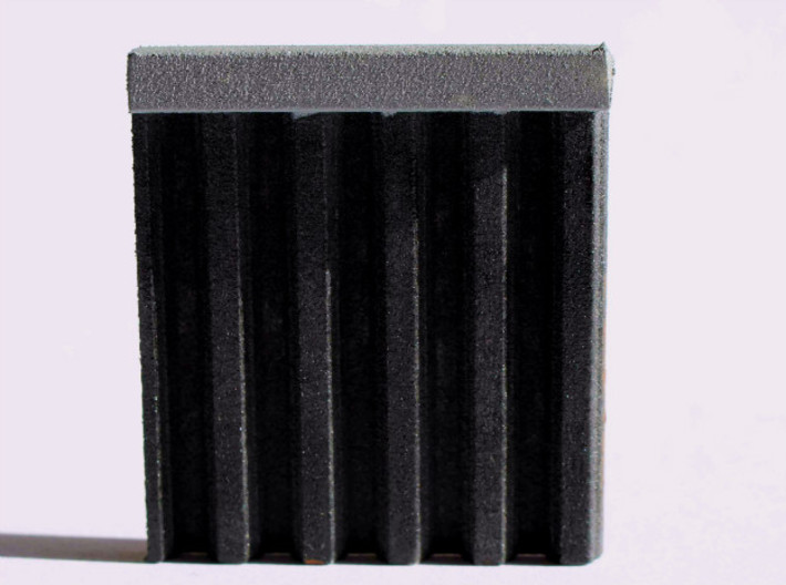 N Scale Sheet Piling (customizable) 3d printed Sample piece  of the sheet piling sheet painted black.