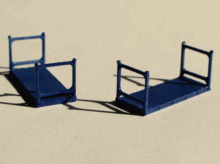 N Scale 40ft Flatrack Container #1 (2pc) 3d printed 20ft fltrack containers type 1. The end walls are the same for the 40ft version.