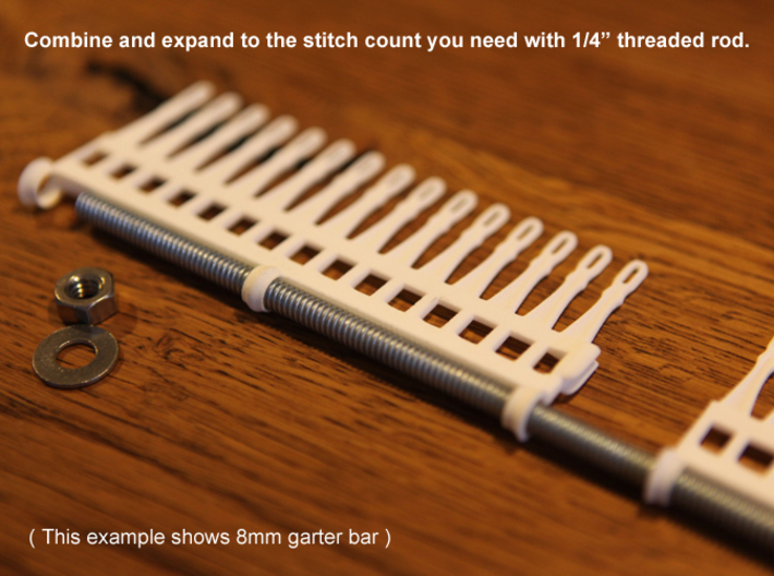 "15 tine knitting garter bar - 8mm v3 3d printed Expand with 1/4"" threaded rod"