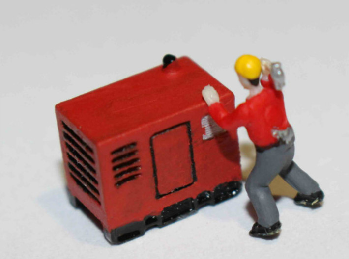 N Scale Mobile Diesel Generator 3d printed If pushing all the buttons doesn't work and Duct tape doesn't fix, a sledgehammer will... or not! Only one way to find out...