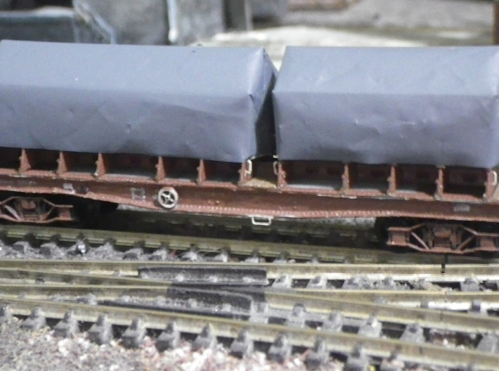 Coil E & G (ex Warflat) cradles with rivetted ends 3d printed Painted, fitted, and tarpaulins fitted (grey plastic bag).