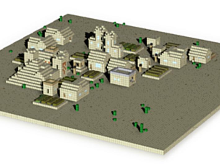 Minecraft desert village 3d printed