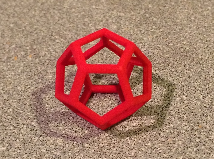 "Dodecahedron Wire Frame - 0.3"" side 3d printed"