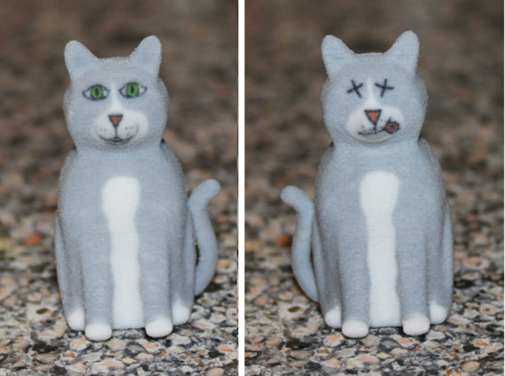 Schrödinger's Cat 3d printed Alive on One Side, Dead on the Other