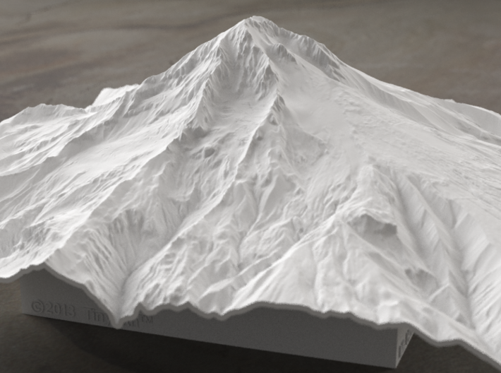 8'' Mt. Hood Terrain Model, Oregon, USA 3d printed Radiance rendering