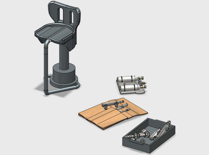YT1300 DEAGO HALL BITS 4 3d printed Render of the hall bits with a stood, tool tray and tool roll.