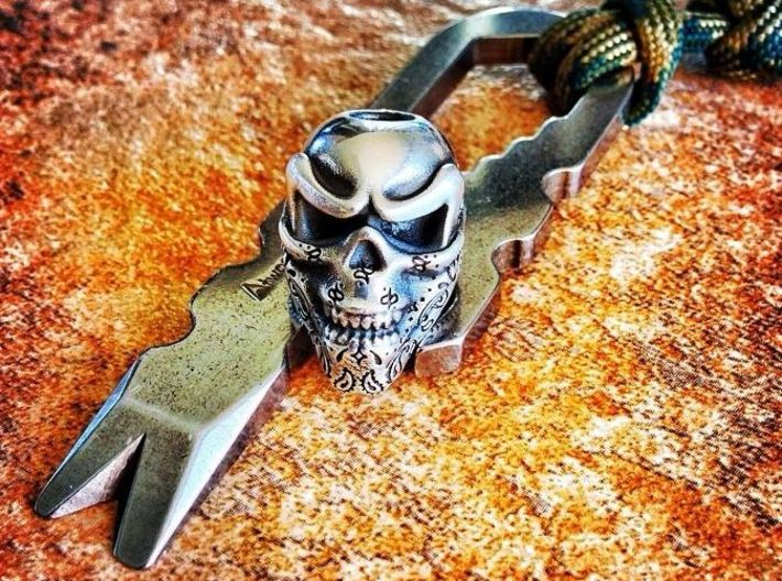 Skull Bead - Bandit 3d printed Silver - Lightly Polished - Aftermarket Patina
