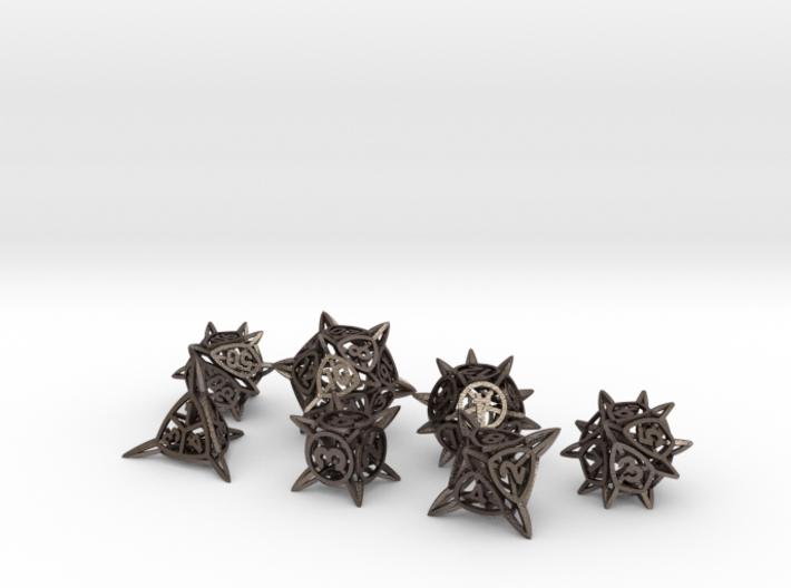 'Center Arc' balanced dice set + 10D10 Decader 3d printed